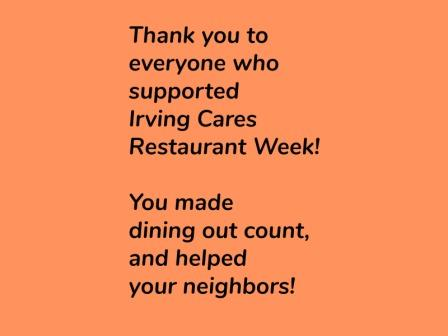 Irving Cares Restaurant Week is May 22 through June 4!