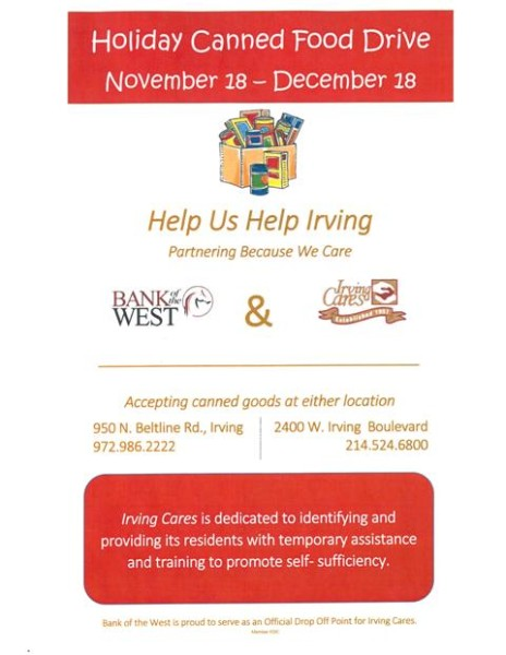 Bank of the West Holiday Canned Food Drive Nov. 18-Dec. 18 at both Irving locations