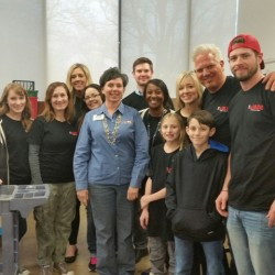 Glenn Beck and The Blaze group photo in the food pantry