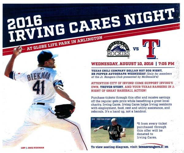 Irving Cares Night Rockies vs Rangers Aug 10