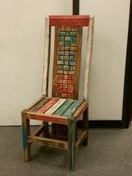 colorful braided-back wooden chair