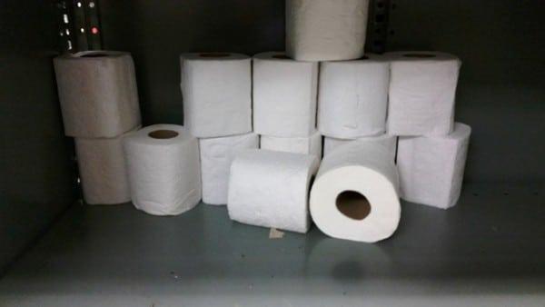Toilet Paper rolls on a shelf
