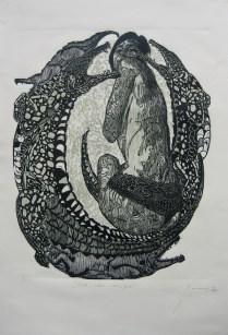 danza con cocuyos-xilografia-80cm x 60cm-2013