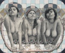 LAS BAÑISTAS DE LOTO, Carboncillo , acrilico sobre tela, 2012