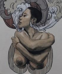 MUJER AGUILA, Carboncillo y acrílico sobre tela, 120cm x 100cm, 2014