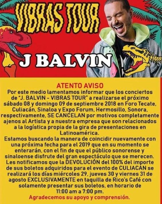j balvin comunicado cancelación concierto sinaloa y sonora