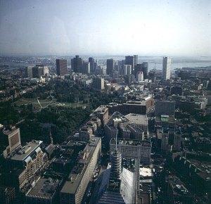 Blick vom Hancocktower auf Boston 1988