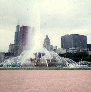 chicago-buckinghambrunnen im Teilregen