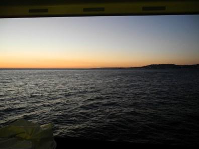 Mündung des Tejo in Abenddämmerung