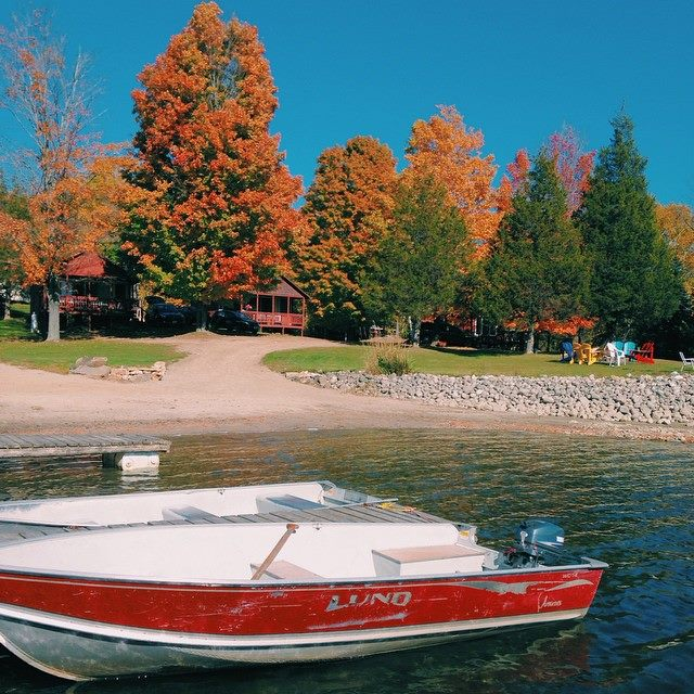 Fall coloured trees, beach area boat and dock