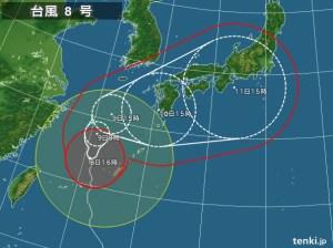 台風8号 予想進路