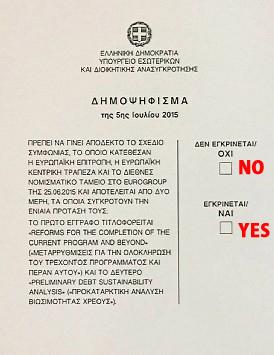 ギリシャ国民投票用紙