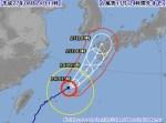 非常に強い台風15号  1991年19号と同進路で九州へ
