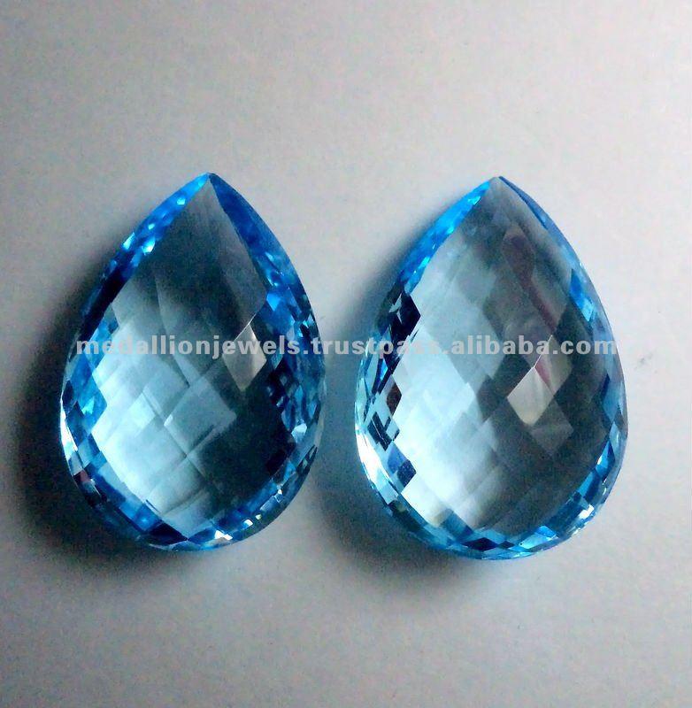 Sky Blue Topaz Pear Shape Checkerboard Facet Cut Loose