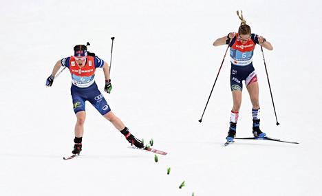 One of the Finnish highlights of the season: Krista Pärmäkoski (left) beats the USA Jessie Diggins in the World Cup final.