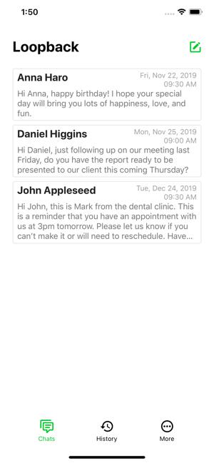 Loopback Schedule Message Screenshot