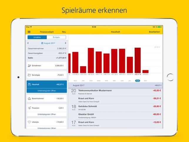 Postbank Finanzassistent iPad Screenshot