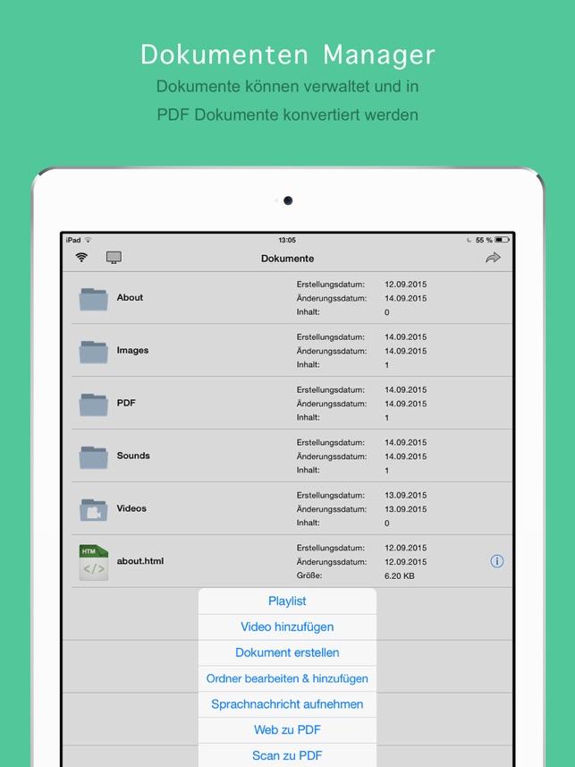 Video Player + Dokumenten Manager Screenshot