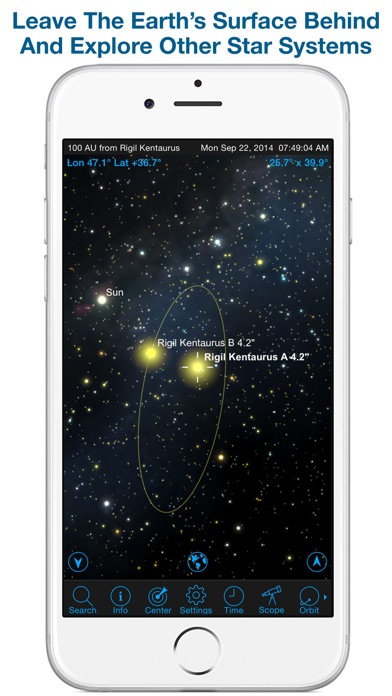 SkySafari 4 Pro: Professional Telescope Astronomy!  Explore Sun, Moon, Mars, Stars, Planets, and Satellites!  Go where NASA space missions have not! Screenshot