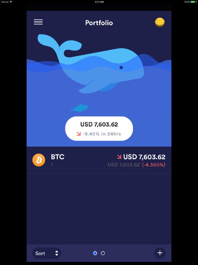 Whalefolio - Crypto Portfolio Screenshot