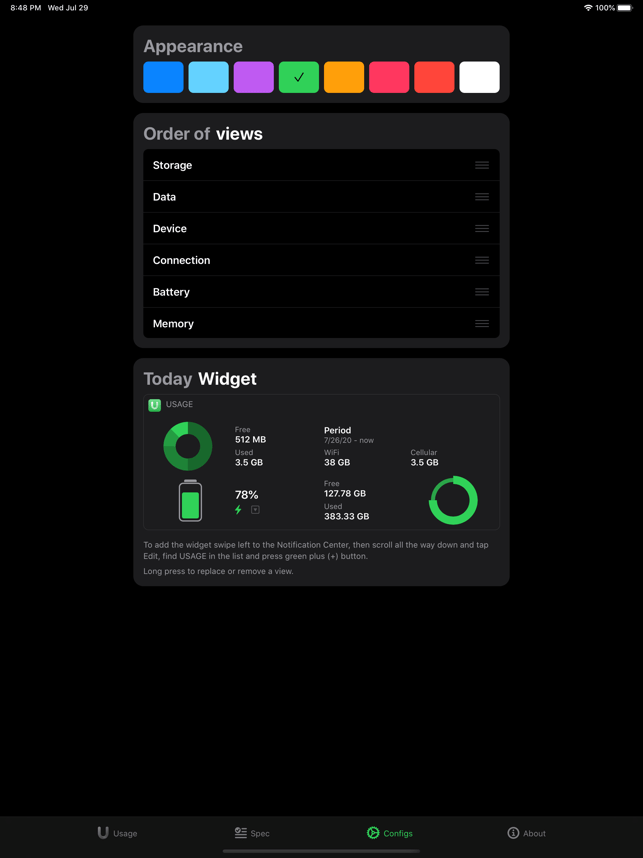 Usage Widgets Screenshot