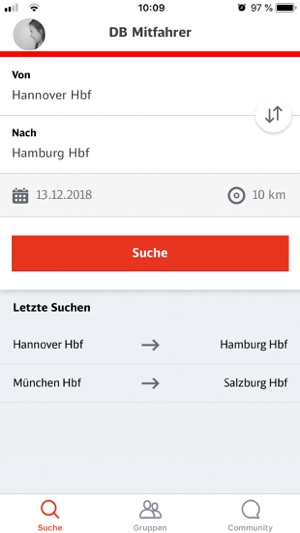 DB Mitfahrer Screenshot