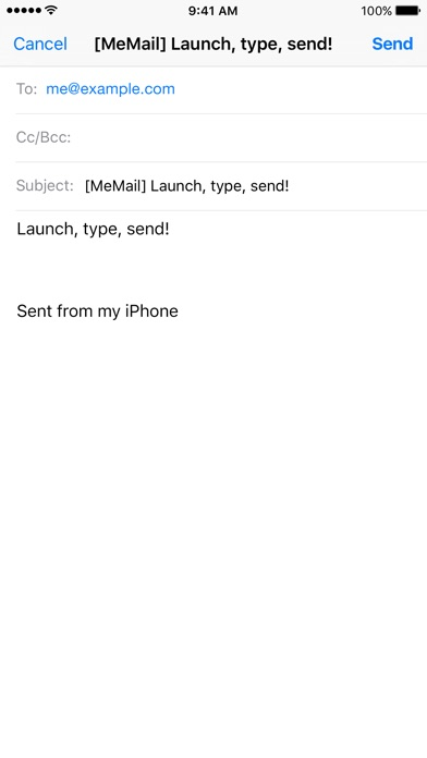 MeMail - email yourself fast! Screenshot