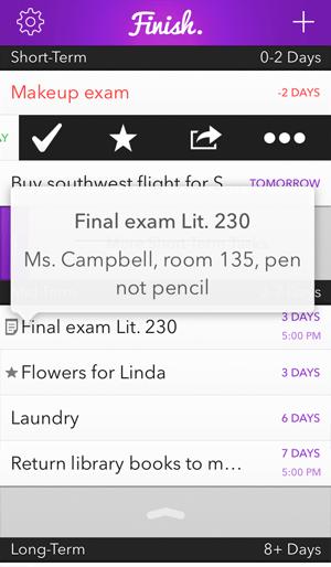 Finish. The procrastinator's to-do list. Screenshot