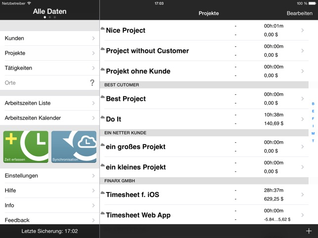 Qlaqs Timesheet HD Premium – Zeiterfassung Screenshot
