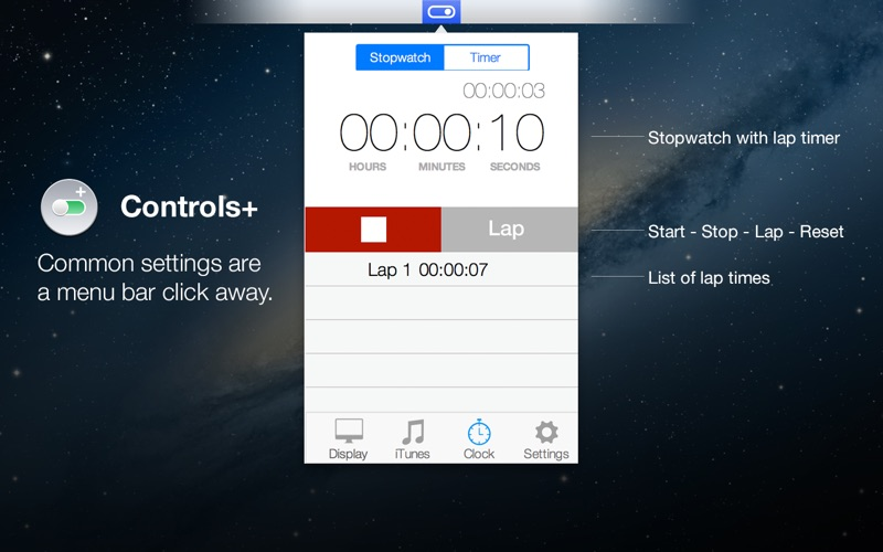 Controls+ for iTunes, Display & Timer in Menu Bar Screenshot