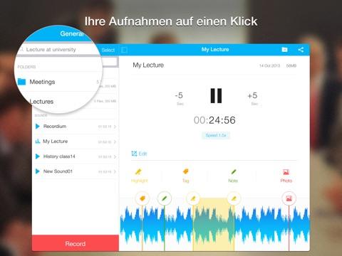 Recordium – aufnahme, Diktiergerät & Notizbuch in einem Screenshot