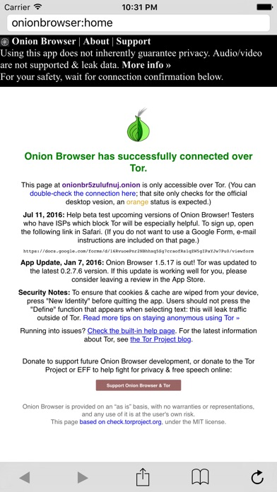 Onion Browser Screenshot