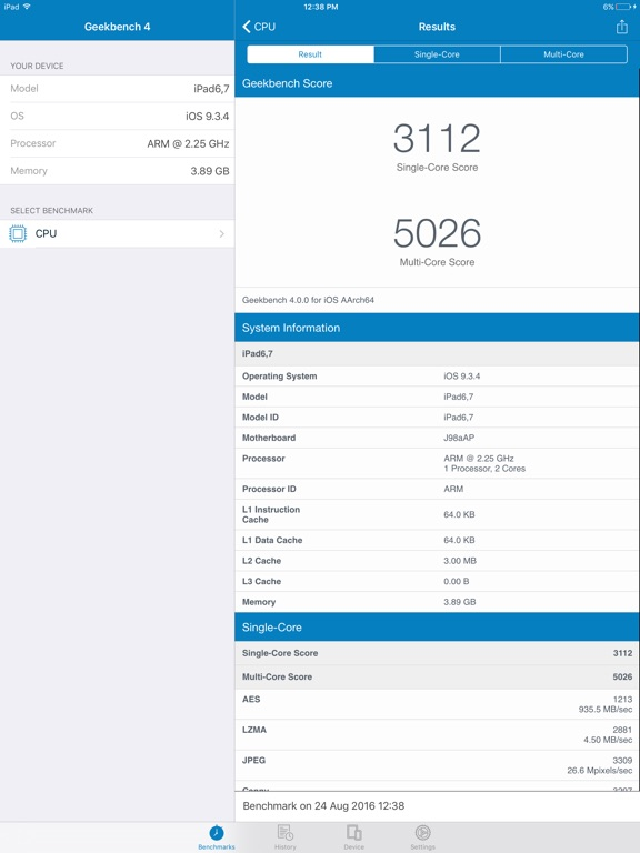 Geekbench 4 Screenshot