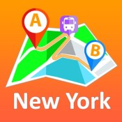 New York City offline map with public transport route planner for my journey