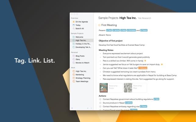 Agenda. Screenshot