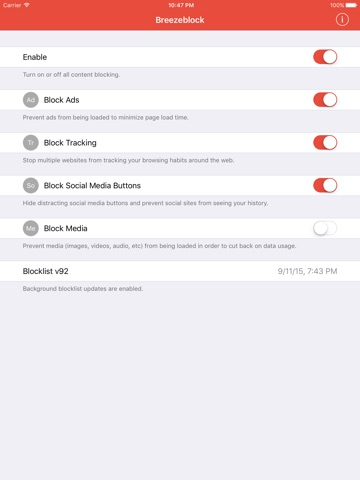 Breezeblock - Block Ads, Reduce Data, Browse Quicker Screenshot