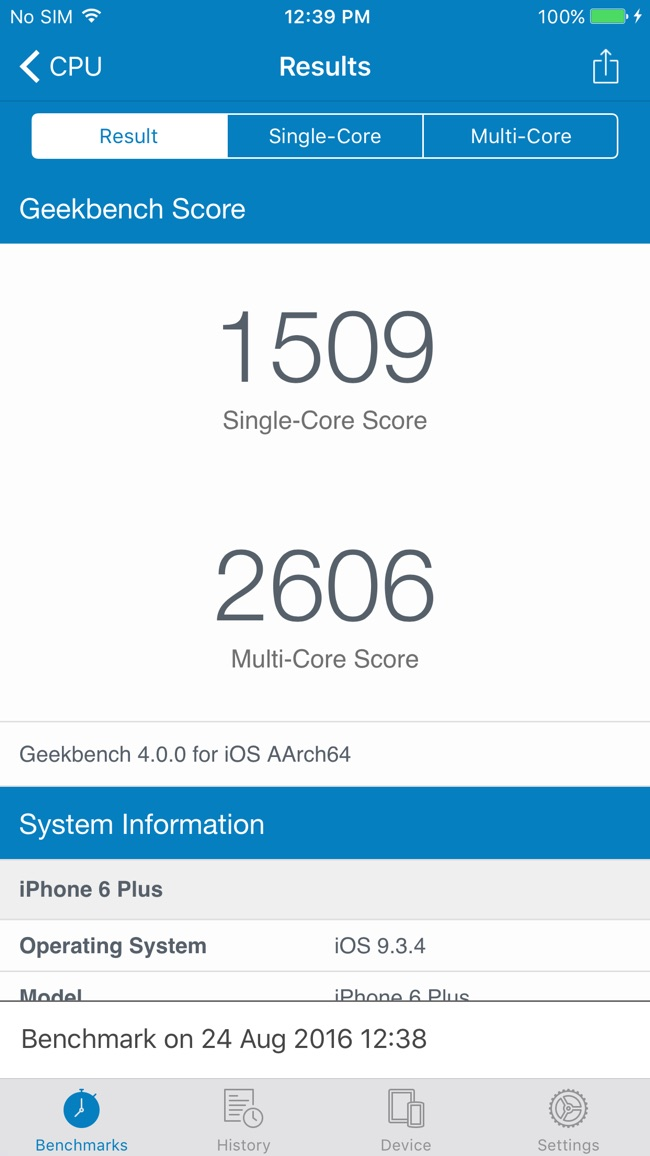 Geekbench 4 Screenshot