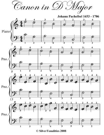 Canon in D Easiest Piano Sheet Music by Johann Pachelbel ...