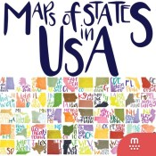 Maps of States in U.S.A. stickers by Şebnem