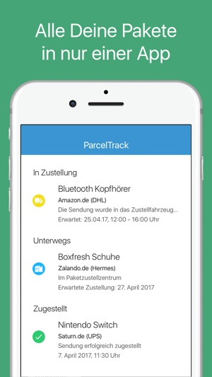 ParcelTrack Sendungsverfolgung Screenshot