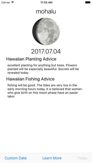 Mahina Hawaiian Moon Calendar Screenshot