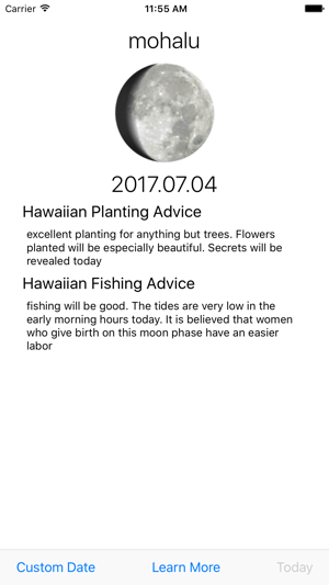 Mahina Hawaiian Moon Calendar Screenshot