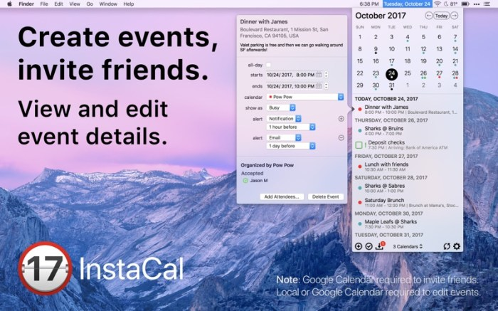 InstaCal - Menu Bar Calendar Screenshot 03 9wco9jn