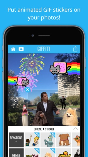 Giffiti - Make GIFs by adding animated stickers and funny GIFs to your photos Screenshot