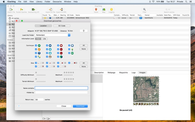 iCaching for Mac 7.0 破解版 - Mac上排名第一个Geocaching工具