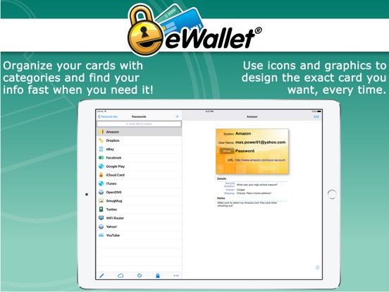 eWallet - Password Manager Secure Storage Database Screenshot