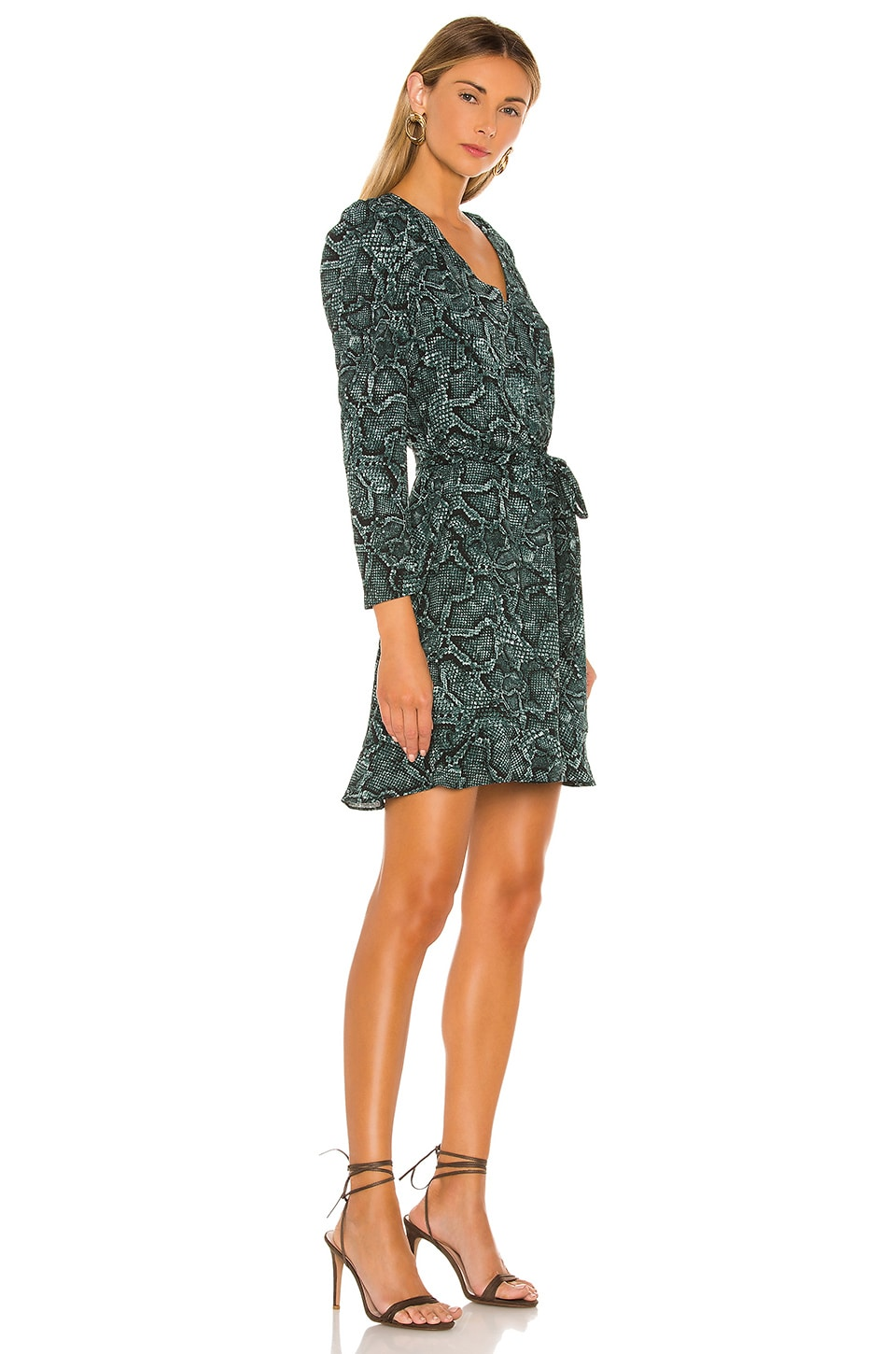 Tie Waist Snake Print Dress, view 2, click to view large image.