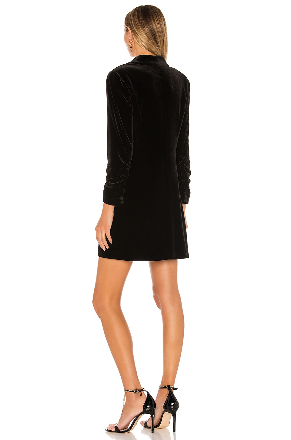 Ruched Velvet Blazer Dress, view 3, click to view large image.