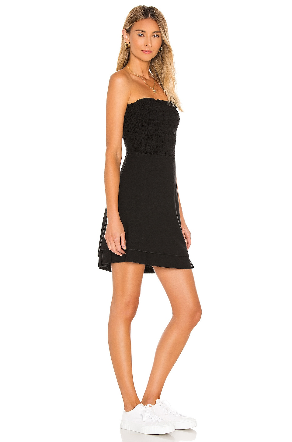 Cozy Knit Strapless Smocked Mini Dress, view 2, click to view large image.