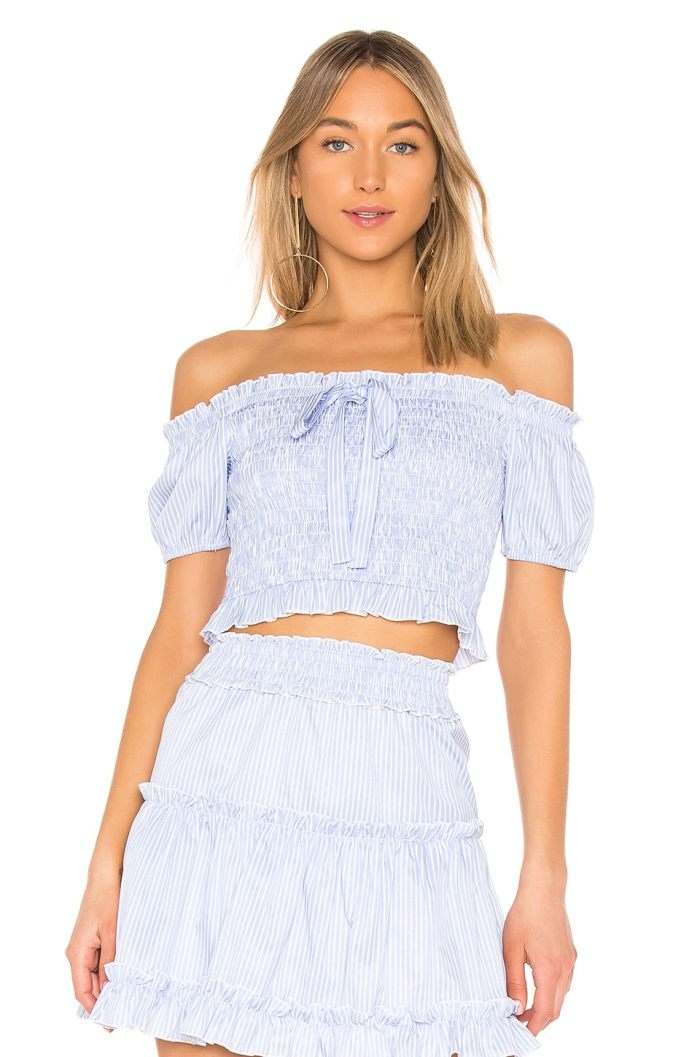 Endless Rose Off the Shoulder Smocked Top in Periwinkle